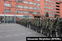 Fuertes policiales rusas bloquean las calles durante la protesta del 15 septiembre del 2012