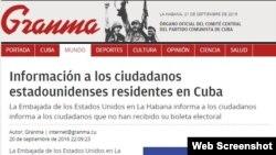 Información de la embajada estadounidense publicada en el periódico Granma.