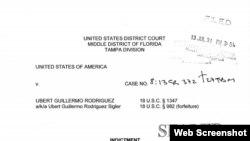 Encabezamiento de la acusación contra Ubert Guillermo Rodríguez por fraude al Medicare