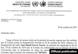 ONU demanda 'suerte y paradero' de José Daniel Ferrer