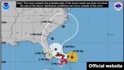Dorian se mantiene este sábado como un huracán mayor de categoría 4. (Mapa del NHC, sábado 31 de agosto a las 8:00 pm).