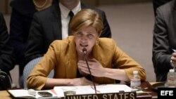 AGX15. NUEVA YORK (ESTADOS UNIDOS), 13/03/2014.- La embajadora de Estados Unidos ante Naciones Unidas, Samantha Power, se dirige al Consejo de Seguridad de la ONU hoy, jueves 13 de marzo de 2014, en la sede de la organización en Nueva York (Estados Unidos