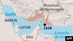Localización de la ciudad de Jask, en la provincia iraní de Hormozgán, zona en donde las fuerzas iraníes derribaron un dron estadounidense, según la televisión estatal de la República Islámica.