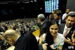 Yoani Sánchez el 20 de febrero de 2013, en la sede de la Cámara de Diputados, en Brasilia (Brasil).