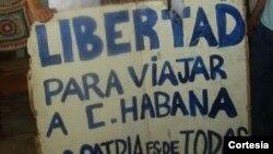 Rolando y Néstor Rodríguez Lobaina durante inicio de una protesta pública en La Habana