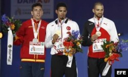 Yasmani Copello Escobar, medalla de oro en 400 metros en el Campeonato Atlético Europeo en Holanda.