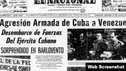 Edición del periódico El Nacional sobre la invasión cubana a Machurucuto
