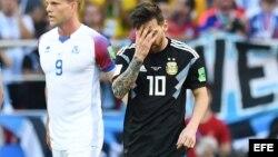 Lionel Messi al final del partido contra Islandia.