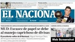 Portada del diario El Nacional de Caracas