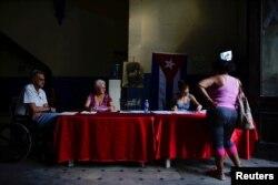 Un colegio electoral en Cuba.