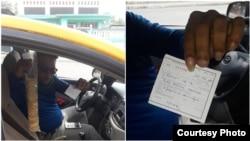 El taxista Onay Medina Martínez muestra la multa que le fue impuesta. (Foto cortesía del activista Yoel Parsons)
