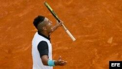Kyrgios celebra su victoria ante Federer.