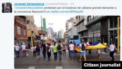 @jovenezvzlanos frente a sede ONU salieron este jueves a protestar por diferentes lugares de Caracas.