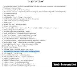 """La firma del embajador Navarro en la carta publicada por """"La Joven Cuba""""."""