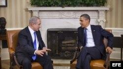 El presidente de Estados Unidos, Barack Obama (d) y el primer ministro de Israel, Benjamín Netanyahu (i).