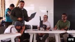 """El negociador de las FARC, Luciano Marín Arango, alias """"Iván Márquez"""", en la Décima Conferencia Nacional Guerrillera."""