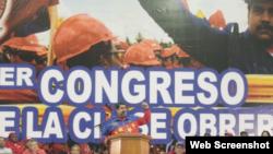 Maduro en la clausura del congreso obrero.