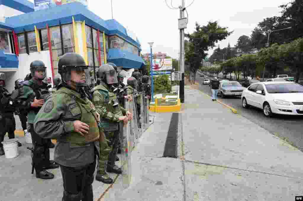 Presencia militar en Táchira, estado fronterizo de Colombia en el oeste del país y donde en los últimos días se han registrado fuertes protestas contra las políticas del Gobierno.