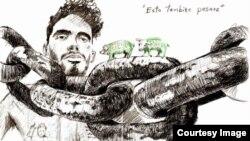 Dibujo de El Sexto desde la cárcel de Valle Grande.