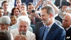 El rey de España reunido en La Habana con empresarios españoles. Ernesto Mastrascusa / Pool photo via AP