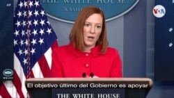 Jen Psaki en rueda de prensa en la residencia presidencial