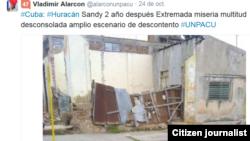 Reporta Cuba después de Sandy. Foto: @alarconunpacu.