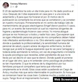El post de Marrero en Facebook.