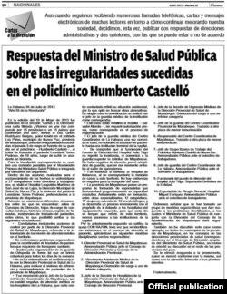 La sanción publicada en Granma.