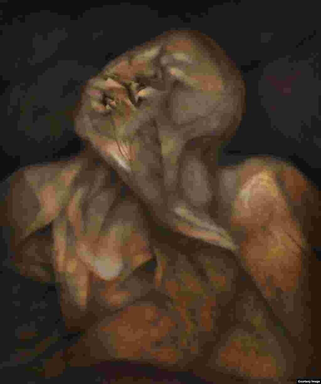 """Rafael Soriano. """"Angustia del olvido (The Anguish of Oblivion)"""", 1996. Oil on canvas/óleo sobre lienzo 36 x 30 inches (91.4 x 76.2 centímetros). Rafael Soriano Family Collection/Colección de la Familia Rafael Soriano."""