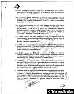 Contrato firmado entre Cuba y BNDES que deja constar (inciso C) el objetivo del préstamo