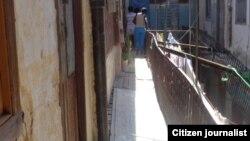 Reporta Cuba. Edificio en peligro de derrumbe. Foto: Maritza Concepción.