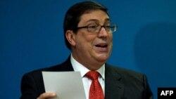 Canciller cubano Bruno Rodríguez Parrilla durante su comparecencia de hoy, 20 de septiembre