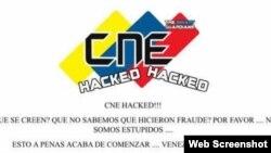 Sitio en internet del Consejo Nacional Electoral de Venezuela hackeado por activistas informáticos.