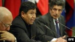 El canciller boliviano, David Choquehuanca (c). Foto de archivo.