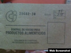Libreta de Racionamiento en Cuba.