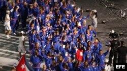 Atletas de la delegación de Cuba desfilan durante la inauguración de los XXII Juegos Centroamericanos y del Caribe, en Veracruz.