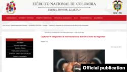 La noticia en el sitio oficial del Ejército Nacional de Colombia.