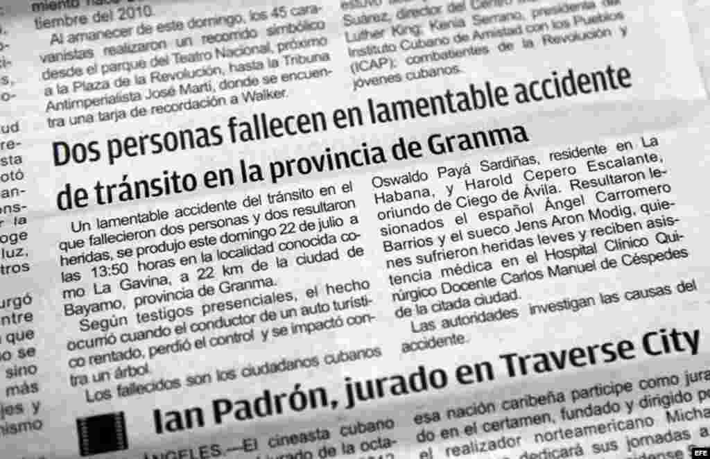 La versión oficial de la muerte de Payá fue publicada en una nota del periódico Granma.
