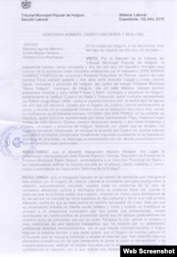 Sentencia del Tribunal Provincial de Holguín sobre el caso de José Ramírez Pantoja.