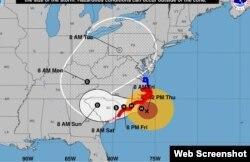 Trayectoria de Florence según pronóstico de las 2:00 pm del jueves. (NHC)