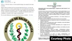 Publicaciones en medios oficiales cubanos sobre caso de rabia Tomados de Facebook Radio Mayarí