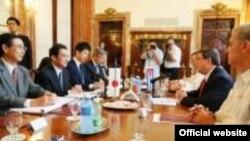 Conversaciones entre los cancilleres de Japón y Cuba en la sede del Minrex, La Habana.