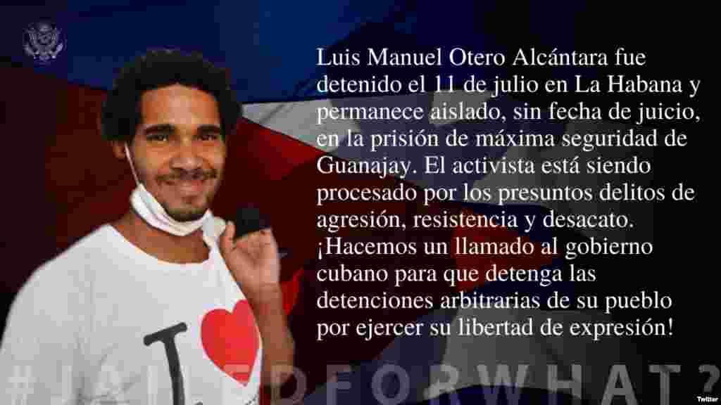 EEUU incluye al artista cubano Luis Manuel Otero Alcántara en su campaña #PresosPorQué?. (Twitter/@USEmbCuba)
