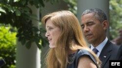 JL08. WASHINGTON DC (EE.UU.), 05/06/2013.- El presidente estadounidense, Barack Obama (c), durante una ceremonia para nombrar a Susan Rice (fuera de cuadro) como su nueva asesora de seguridad nacional y a Samantha Power (i) como nueva embajadora del país