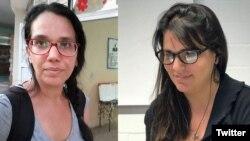 Las periodistas Luz Escobar (izq.) y Elaine Díaz. (Combo de fotos tomadas de Twitter)