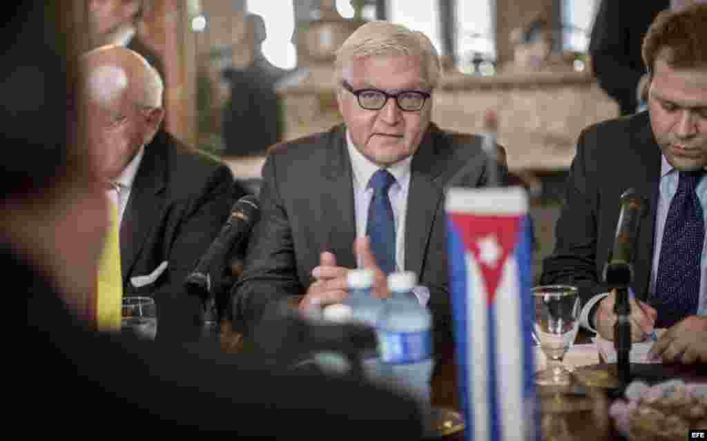 El ministro de Exteriores alemán, Frank-Walter Steinmeier (c), conversa con su homólogo cubano, Bruno Rodríguez Parrilla.