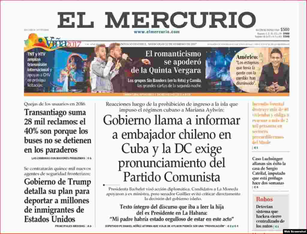 El Mercurio destaca en portada la reacción del gobierno chileno a la negativa de entrada a Cuba a la exministra Mariana Aylwin.