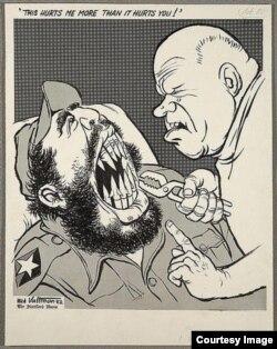 Caricatura sobre la salida de los misiles soviéticos de Cuba.