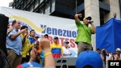 El líder opositor Henrique Capriles pronuncia un discurso durante una marcha de protesta el sábado 23 de noviembre de 2013.