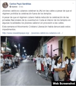 Jóvenes católicos caminan por las calles de Santa Clara, Villa Clara. (Fuente: Movimiento Cristiano Liberación).